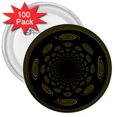 Dark Portal Fractal Esque Background 3  Buttons (100 Pack)