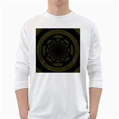 Dark Portal Fractal Esque Background White Long Sleeve T Shirts
