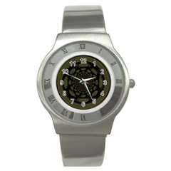 Dark Portal Fractal Esque Background Stainless Steel Watch