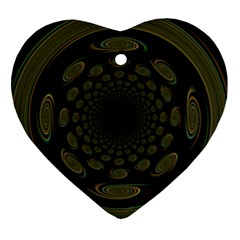 Dark Portal Fractal Esque Background Heart Ornament (two Sides)