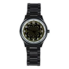 Dark Portal Fractal Esque Background Stainless Steel Round Watch