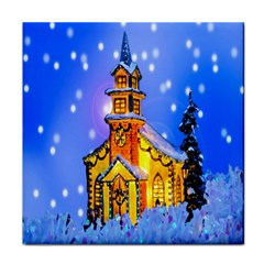 Winter Church Tile Coasters