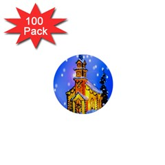 Winter Church 1  Mini Buttons (100 Pack)