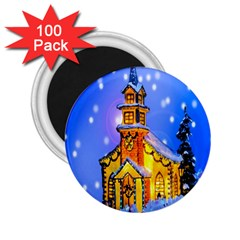 Winter Church 2.25  Magnets (100 pack)