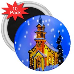 Winter Church 3  Magnets (10 Pack)