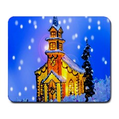 Winter Church Large Mousepads