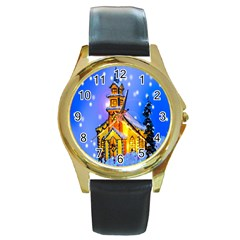 Winter Church Round Gold Metal Watch