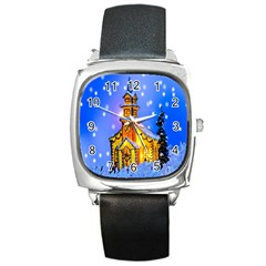 Winter Church Square Metal Watch