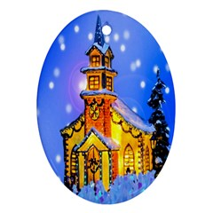 Winter Church Oval Ornament (Two Sides)