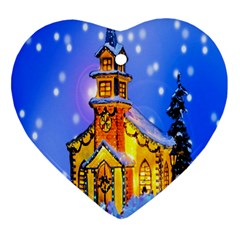 Winter Church Heart Ornament (two Sides)