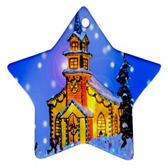 Winter Church Star Ornament (Two Sides)