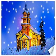 Winter Church Canvas 12  x 12
