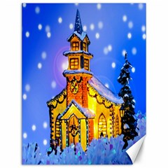 Winter Church Canvas 12  x 16