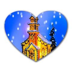 Winter Church Heart Mousepads