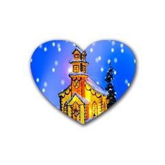 Winter Church Heart Coaster (4 pack)