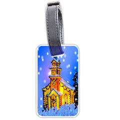 Winter Church Luggage Tags (two Sides)