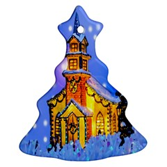 Winter Church Christmas Tree Ornament (Two Sides)