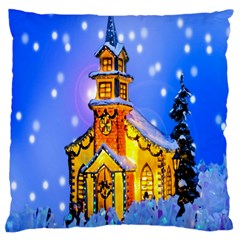 Winter Church Large Cushion Case (one Side)