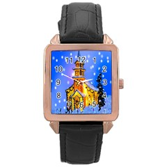 Winter Church Rose Gold Leather Watch