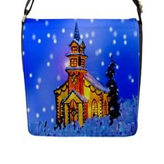 Winter Church Flap Messenger Bag (L)