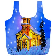 Winter Church Full Print Recycle Bags (L)