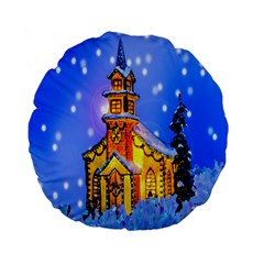 Winter Church Standard 15  Premium Flano Round Cushions