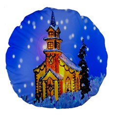 Winter Church Large 18  Premium Flano Round Cushions