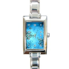 Blue Night Portrait Background Rectangle Italian Charm Watch