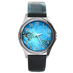 Blue Night Portrait Background Round Metal Watch