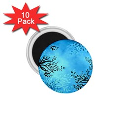 Blue Night Portrait Background 1.75  Magnets (10 pack)