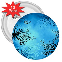 Blue Night Portrait Background 3  Buttons (10 Pack)