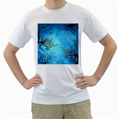 Blue Night Portrait Background Men s T-Shirt (White) (Two Sided)
