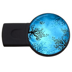 Blue Night Portrait Background USB Flash Drive Round (1 GB)