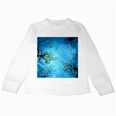 Blue Night Portrait Background Kids Long Sleeve T Shirts