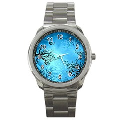 Blue Night Portrait Background Sport Metal Watch