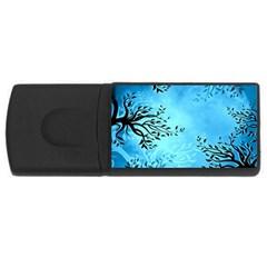 Blue Night Portrait Background Usb Flash Drive Rectangular (4 Gb)