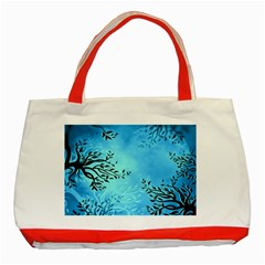 Blue Night Portrait Background Classic Tote Bag (red)