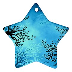 Blue Night Portrait Background Star Ornament (two Sides)