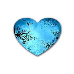 Blue Night Portrait Background Heart Coaster (4 pack)