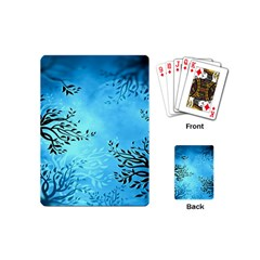 Blue Night Portrait Background Playing Cards (mini)