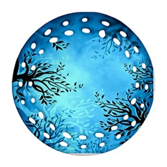 Blue Night Portrait Background Round Filigree Ornament (two Sides)