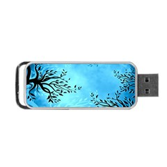 Blue Night Portrait Background Portable Usb Flash (two Sides)