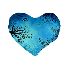 Blue Night Portrait Background Standard 16  Premium Heart Shape Cushions