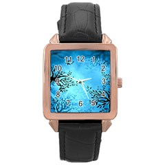 Blue Night Portrait Background Rose Gold Leather Watch