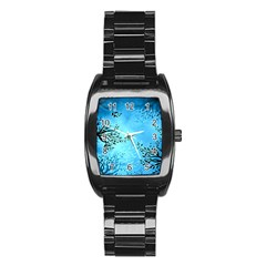 Blue Night Portrait Background Stainless Steel Barrel Watch