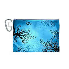 Blue Night Portrait Background Canvas Cosmetic Bag (M)