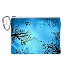 Blue Night Portrait Background Canvas Cosmetic Bag (l)