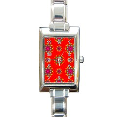 Rainbow Colors Geometric Circles Seamless Pattern On Red Background Rectangle Italian Charm Watch