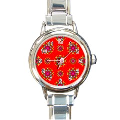 Rainbow Colors Geometric Circles Seamless Pattern On Red Background Round Italian Charm Watch