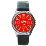Rainbow Colors Geometric Circles Seamless Pattern On Red Background Round Metal Watch Front